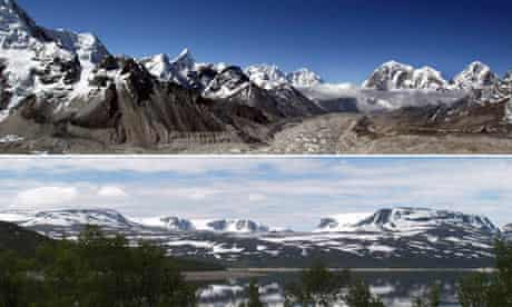 Mountains erosion : Himalayas and Glacially eroded mountains in Jotunheimen in Norway