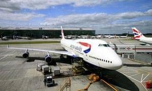 British Airways Boeing 747 plane at London's Heathrow Airport.