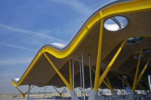 Airport design: Madrid airport in Spain, with a new terminal designed by Richard Rogers