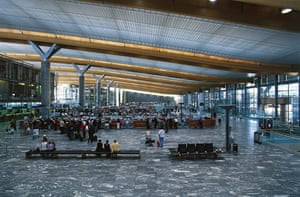 Airport design: Inside the new terminal of Gardermoen airport, Oslo, Norway