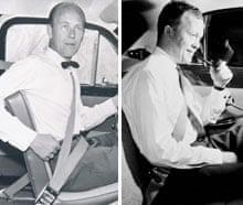 Car seat belt: composite showing inventor Nils Bohlin and promo for rear seat belt