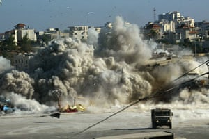 Israel-Palestine timeline: 2002. Israeli army blows up a building in Arafat's compound in Ramallah