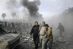 Israel-Palestine timeline: 2008. An injured Palestinian after an Israeli missile strike in Rafah