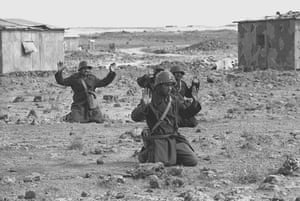 Israel-Palestine timeline: 1973. Syrian soldiers raise their hands in surrender on the Golan Heights