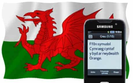 Welsh flag with mobile phone