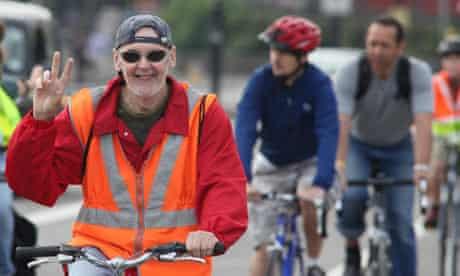 Cycle Friday convoy riding over Waterloo Bridge