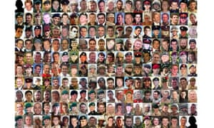 Composite image of the 200 British troops who have died during the conflict in Afghanistan