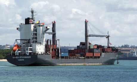 Piracy victim off the Somalian coast, the German container ship Hansa Stavanger