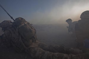 Sean Smith in Afghanistan: 25 June 2009: Troops use a smoke screen