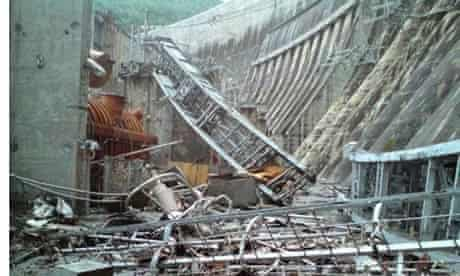 Twisted metal after the accident on 17 August 2009 at the Sayano-Shushenskaya dam in Siberia