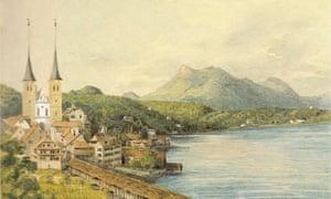 Watercolour of Lucerne by Felix Mendelssohn