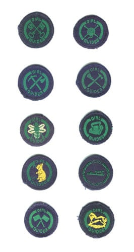 Girl guides 100th: Girl Guides Badges from 1956