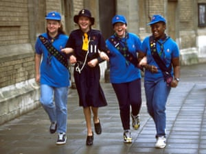 Girl guides 100th: 1997 Girl guides in 1930's and 1997 jeans uniform