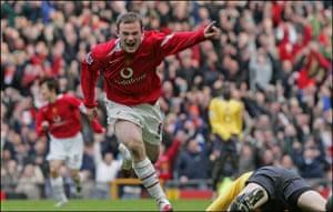 Wayne Rooney Top Ten: Wayne Rooney celebrates scoring against Arsenal in 2006