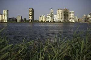 Nile Delta: New apartment buildings along side the Damietta branch of the Nile