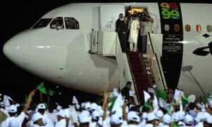 Lockerbie bomber Abdelbaset al-Megrahi arrives in Libya at Tripoli's airport