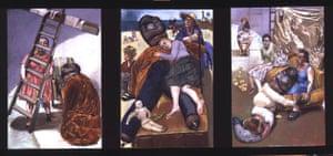 Paula Rego: Pillowman triptych, 2004