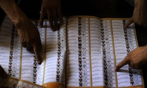 Election Workers count the polls the day after the election in Afghanistan