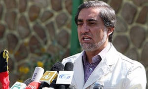 Abdullah Abdullah gives a press conference in Kabul
