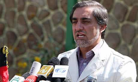 Abdullah Abdullah gives a press conference in Kabul