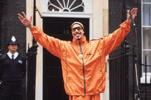 Tracksuits: Ali G stands outside 10 Downing Street in the film Ali G in Da House