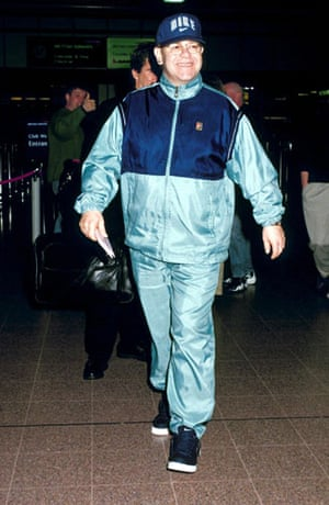 Tracksuits: Elton John at Heathrow airport in 1998