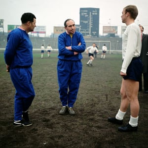 Tracksuits: England manager Sir Alf Ramsey (centre) chats with Bobby Moore (right)