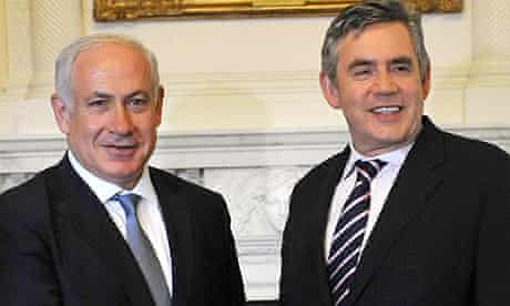 Benjamin Netanyahu and Gordon Brown at Downing Street