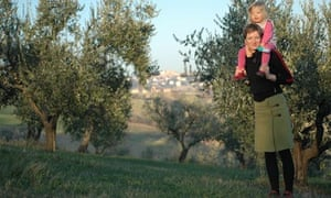 Cathy Rogers with her daughter Rosie in Le Marche after the family's move to Italy