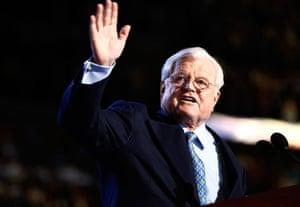 Edward Kennedy: 2008: Edward Kennedy waves to the crowd