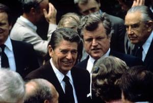 Edward Kennedy: 1981: President Ronald Reagan and Senator Ted Kennedy