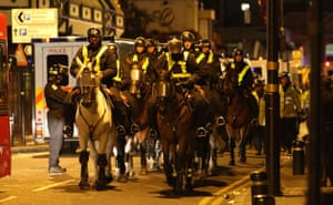 west ham millwall: Mounted police move in to bolster the Police lines