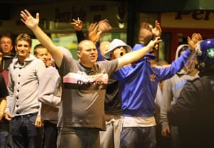west ham millwall: West Ham fans at Green Street taunt the Police