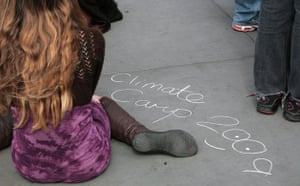 Camp for Climate Action : protesters on Trafalgar Square, London