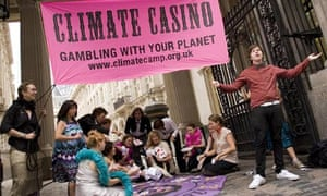 Camp for Climate Action:  climate casino Bishopsgate London
