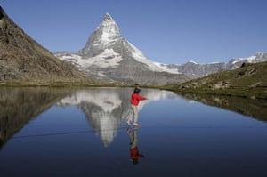Tightrope: Heinz Zak on a highline at the foot of the Matterhorn, Switzerland