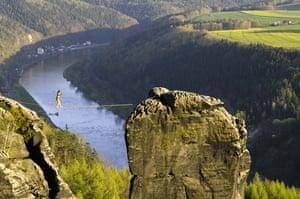 Tightrope: Heinz Zak on a highline Devil's Tower, Dresden, Germany