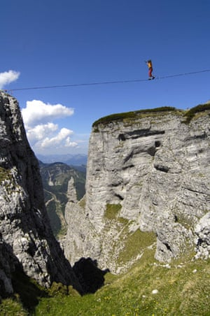 Tightrope: Heinz Zak on a highline in Styria, Austria