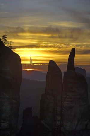 Tightrope: Heinz Zak on a highline in Dresden, Germany