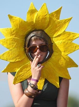 Camp for Climate Action: A protestor dressed as a sunflower,  Blackheath, London