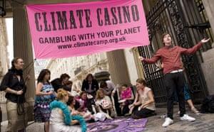 Camp for Climate Action: Impromptu casino, European Climate Exchange, Bishopsgate,  London