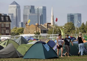 Camp for Climate Action: Protestors tents on Blackheath green,  southeast London