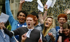 Pupils celebrating GCSE results