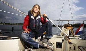 Laura Dekker, 13, on her sailboat the Guppy