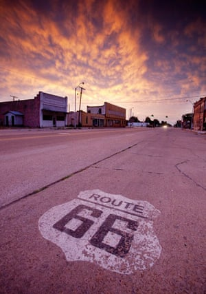 Route 66 Day 2: A Route 66 marker on the road in Erick, Oklahoma