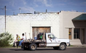 Route 66 Day 2: Workmen on a truck in McLean, Texas