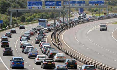 Slow-moving traffic on the M5 motorway