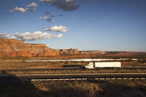 Route 66 Day 3: A train runs alongside Interstate I-40 near the New Mexico/Arizona border