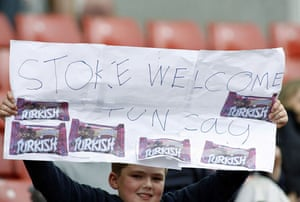 premier league: A young Stoke fan shows his support for new signing Tuncay Sanli