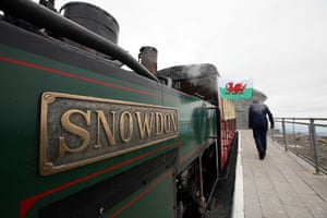 Snowdon visitor centre: The Snowdon steam mountain railway makes its way to the summit